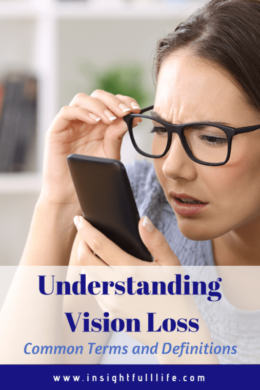 Young woman wearing glasses looking looking intently at phone screen as she holds it near her face. Written on bottom of image in blue lettering: Understanding Vision Loss; Common Terms and Definitions