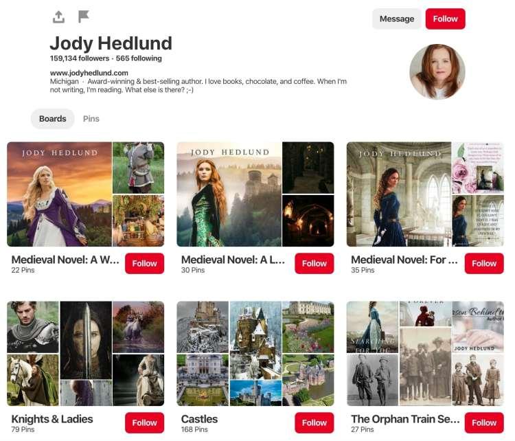 Jody Hedlund Pinterest Board