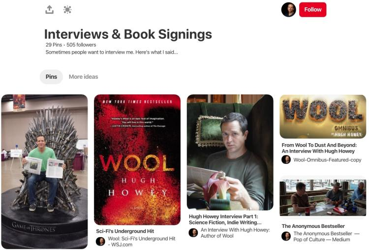 Hugh Howey interviews and book signings pinterest board