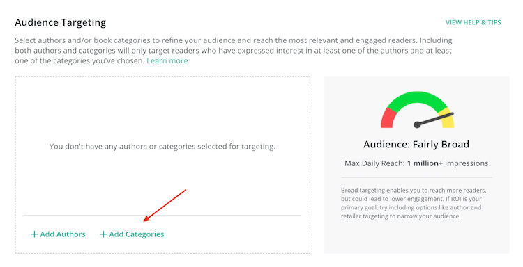 BookBub Ads categories audience targeting
