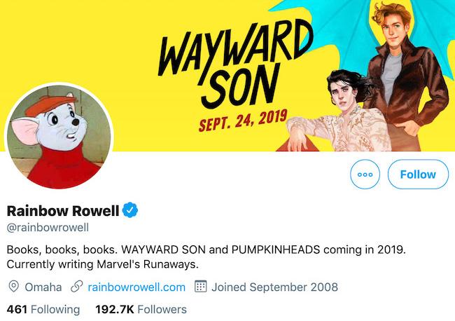 Rainbow Rowell Twitter Header