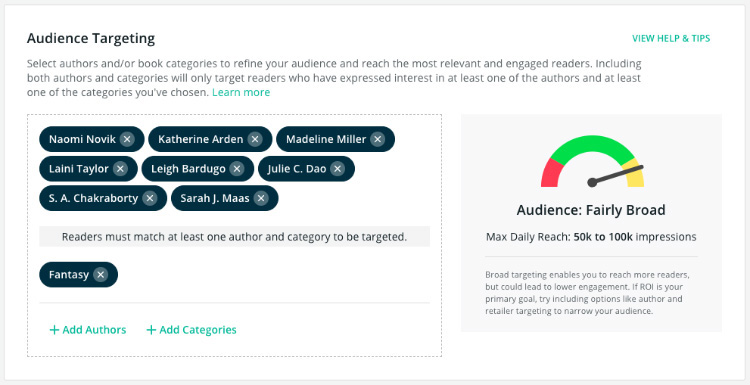audience targeting BookBub Ads