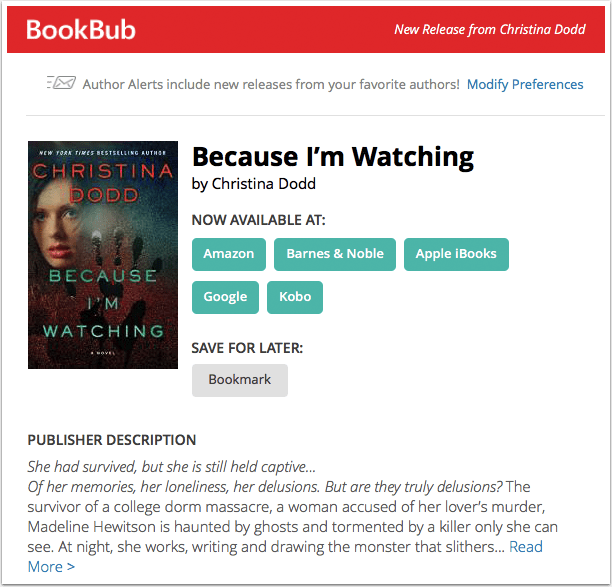 BookBub New Release Alert - Christina Dodd