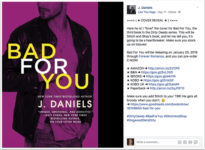 J. Daniels cover reveal on Facebook