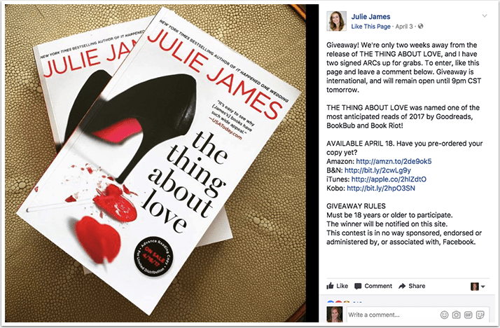Julie James preorder campaign on Facebook