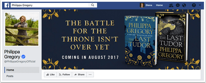 Philippa Gregory's Facebook cover photo featuring a preorder