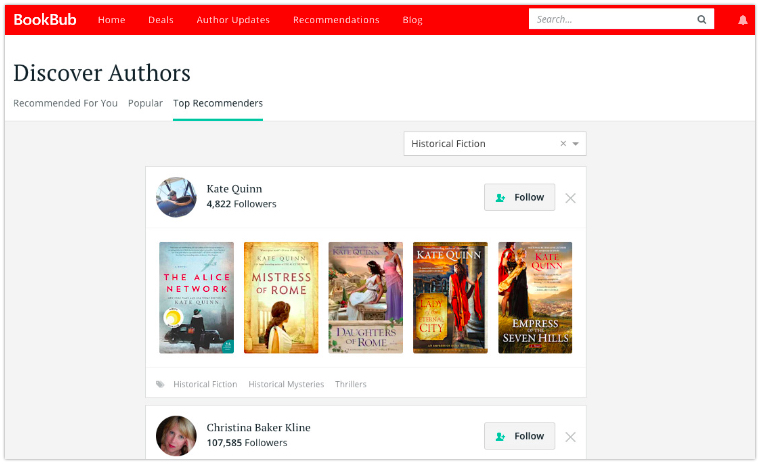 BookBub Discover Authors page