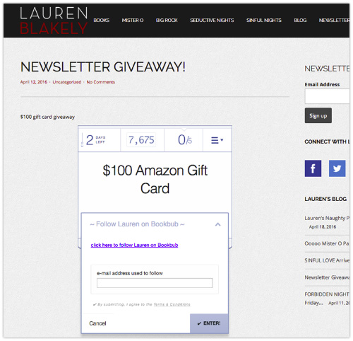 Lauren Blakely Newsletter Giveaway