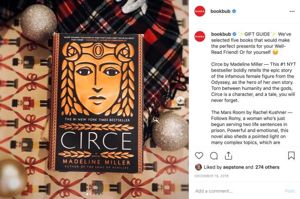 Bookbub holiday gift guide on instagram featuring Circe