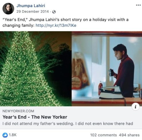 Jhumpa Lahiri shares a short holiday themed story on Facebook