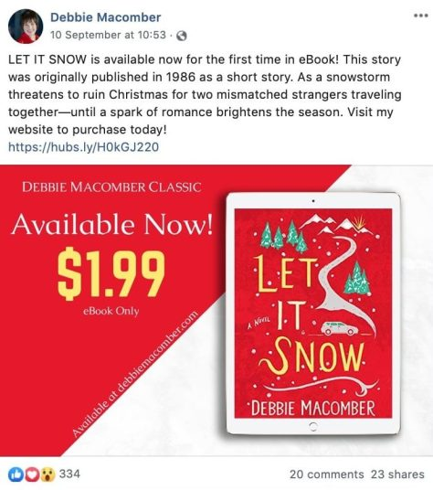 Sell more books over the holidays Debbie Macomber Facebook post