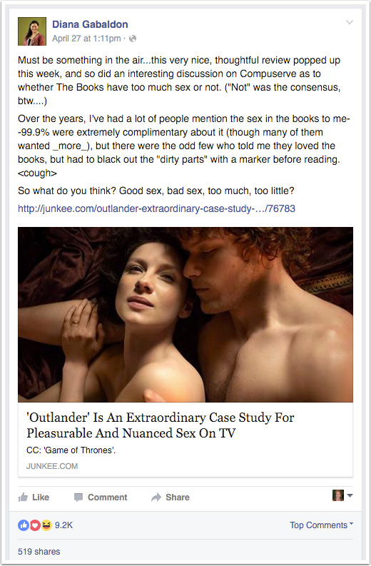 Diana Gabaldon's Facebook post