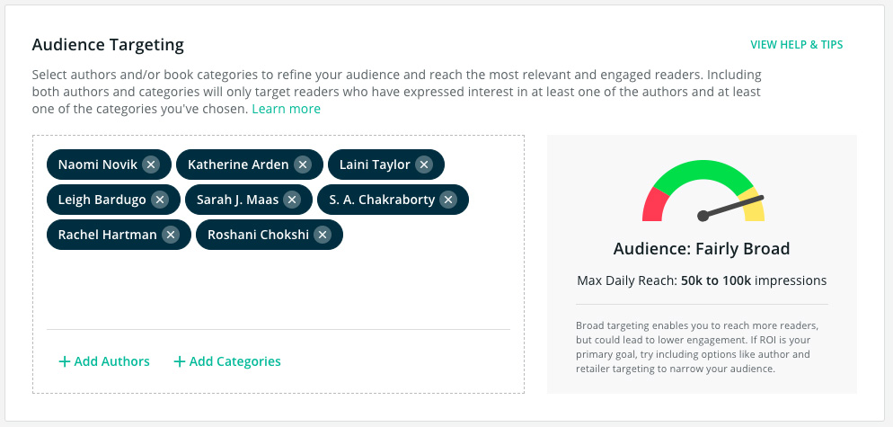 BookBub Ads - Refine Author Targeting