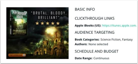 BookBub Ads campaign for The Last Survivors