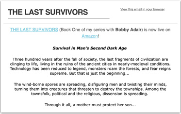 The Last Survivors promotional email