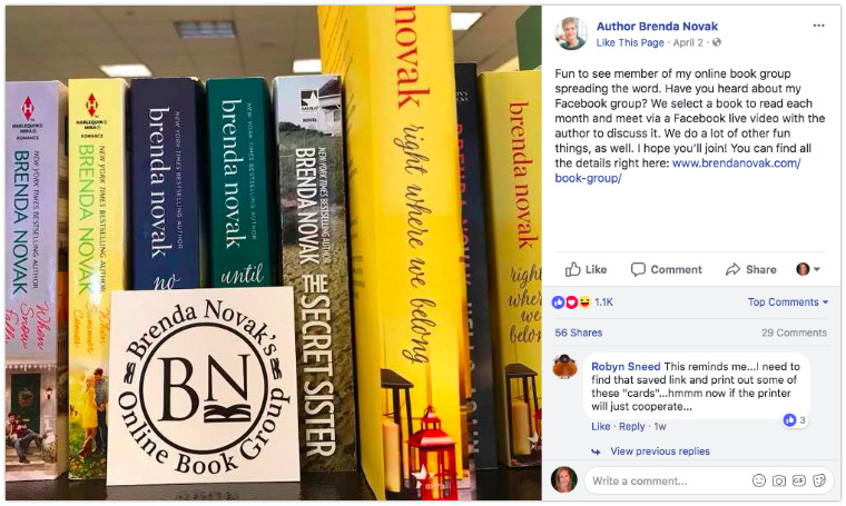 Brenda Novak - Use clever props when displaying books on a shelf