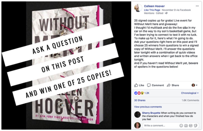 Colleen Hoover - Ask fans a question in an image