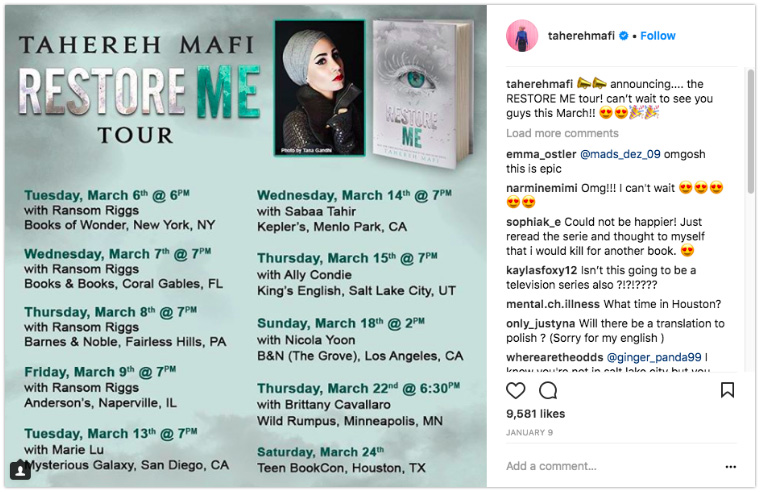 Tahereh Mafi - Display event or tour dates in an image