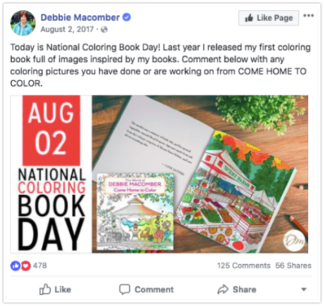 Debbie Macomber - National Coloring Book Day