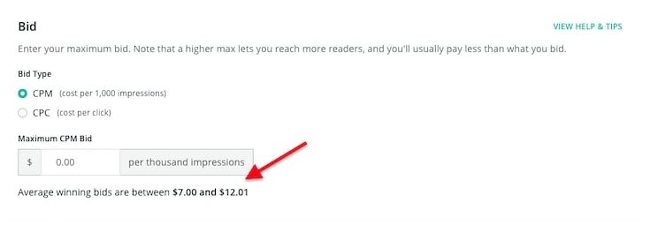 BookBub Ad bidding correct example