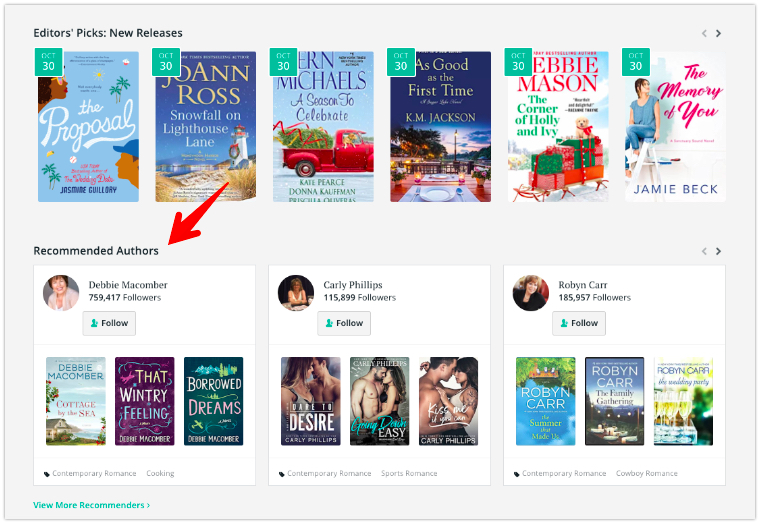 BookBub Category Page Recommendations