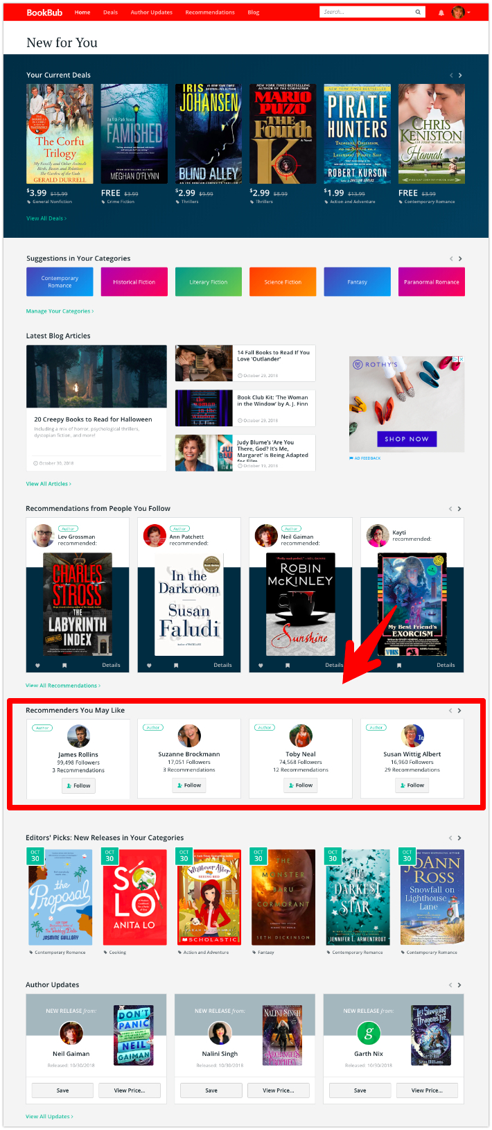 BookBub Homepage Recommendations