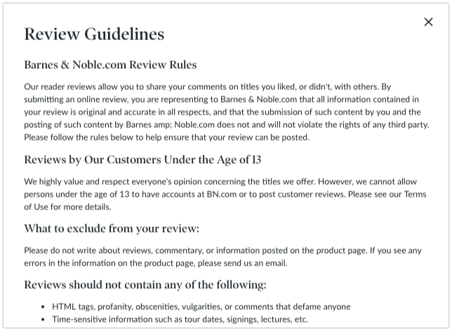 barnes noble review policy get reviews