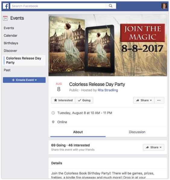 Facebook book release party