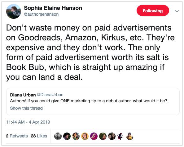book marketing tips bookbub debut authors