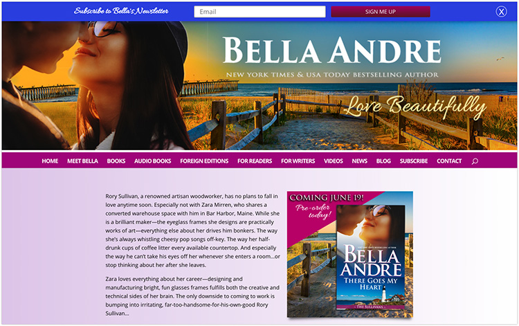 Bella Andre author website design