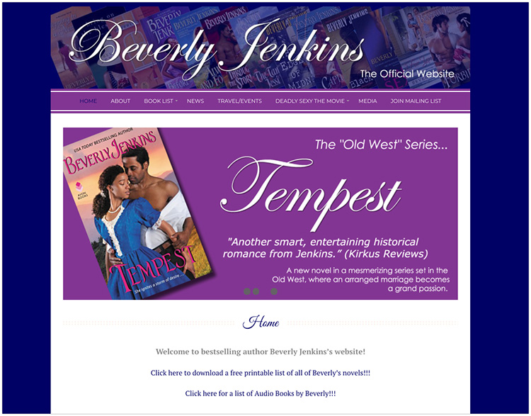 Beverly Jenkins author website design
