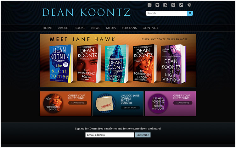 Dean Koontz author website design