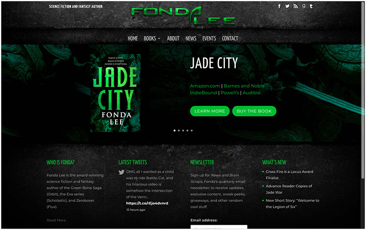 Fonda Lee author website design