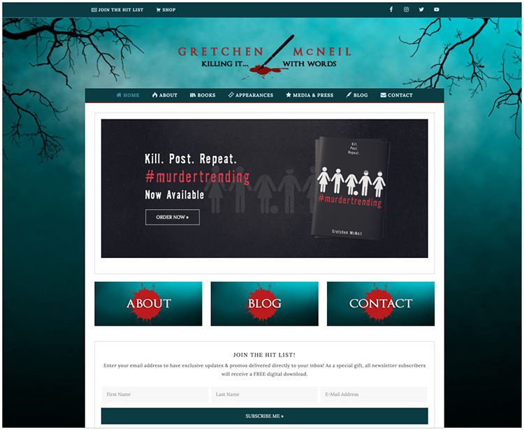 Gretchen McNeil author website design