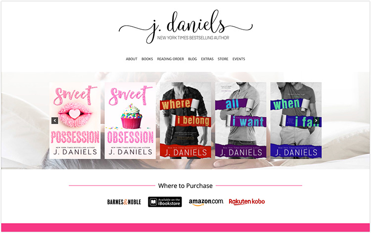 J Daniels author website design