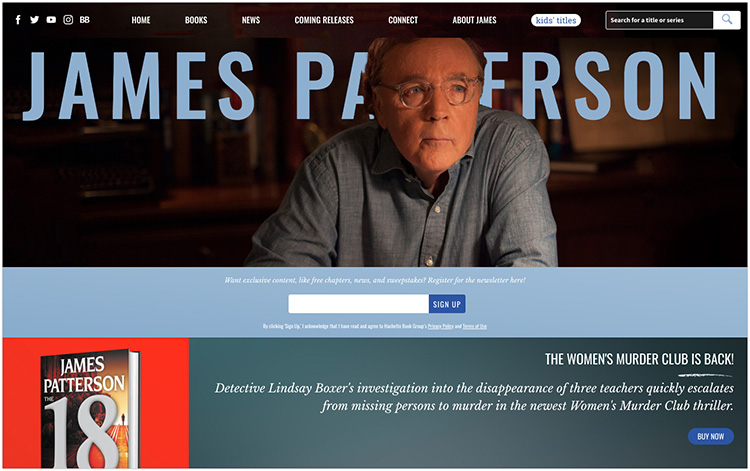 James Patterson author website design