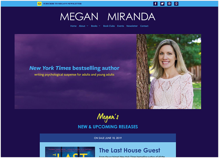 Megan Miranda author website design