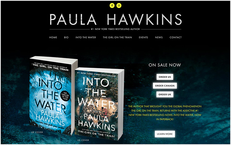 Paula Hawkins author website design