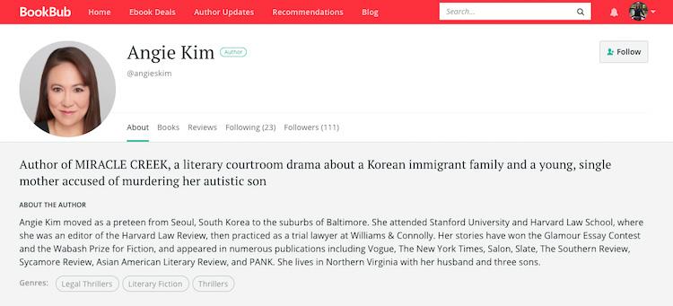 Angie Kim BookBub Author Profile