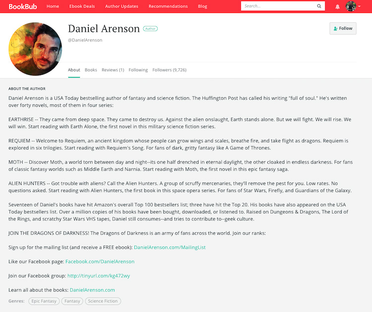 Daniel Arenson BookBub Author Profile