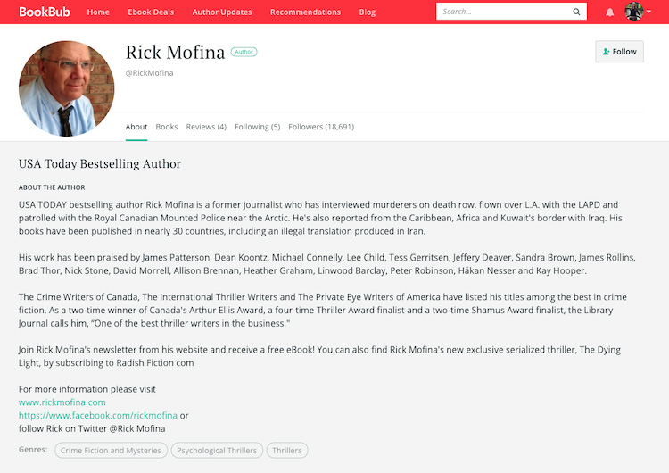 Rick Mofina BookBub Author Profile
