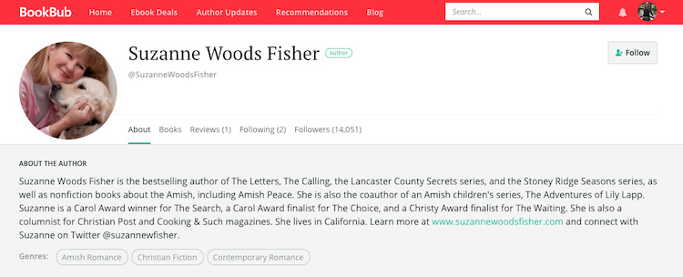 Suzanne Woods Fisher BookBub Author Profile
