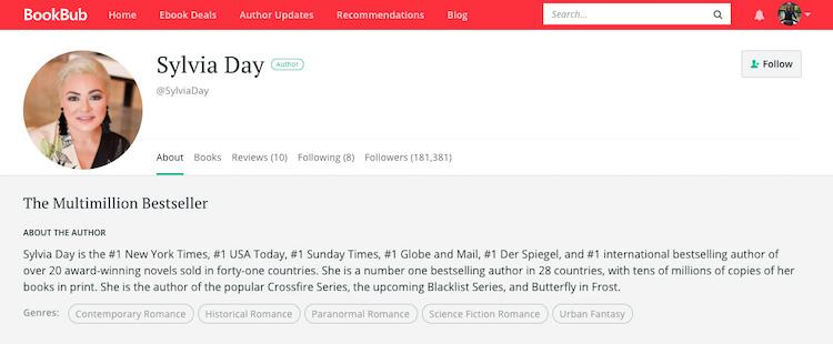 Sylvia Day BookBub Author Profile
