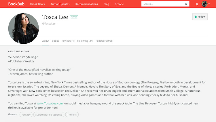 Tosca Lee BookBub Author Profile