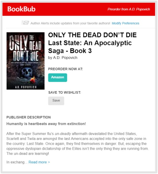 bookbub preorder alert promote book before it's published