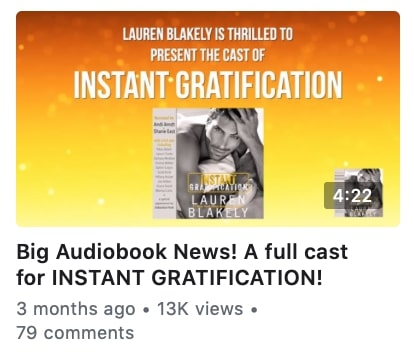 Facebook Author Promotion audiobook example