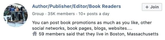 Facebook Author Promotion book group example