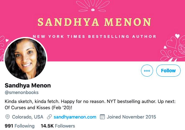Sandhya Menon Twitter Header