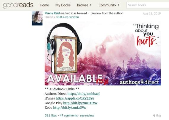 Goodreads review for Penny Reid's audiobook