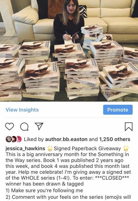 Jessica Hawkins book giveaway instagram post